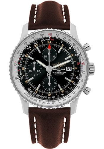 Breitling Watches - Navitimer World Stainless Steel - Leather Strap - Deployant - Style No: A2432212/B726-leather-brown-deployant