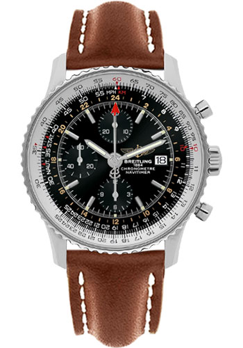 Breitling Watches - Navitimer World Stainless Steel - Leather Strap - Deployant - Style No: A2432212/B726-leather-gold-deployant