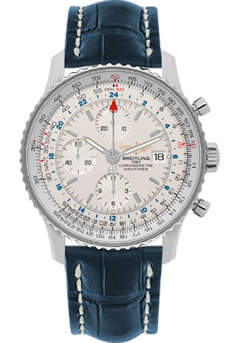 Breitling Watches - Navitimer World Stainless Steel - Croco Strap - Deployant - Style No: A2432212/G571-croco-blue-deployant