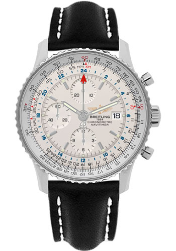 Breitling Watches - Navitimer World Stainless Steel - Leather Strap - Deployant - Style No: A2432212/G571-leather-black-deployant