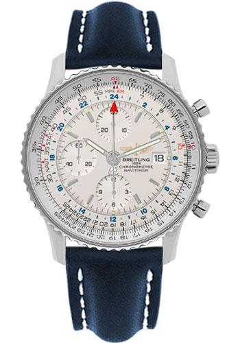 Breitling Watches - Navitimer World Stainless Steel - Leather Strap - Deployant - Style No: A2432212/G571-leather-blue-deployant