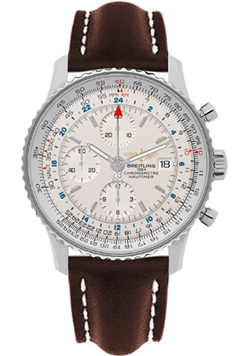 Breitling Watches - Navitimer World Stainless Steel - Leather Strap - Deployant - Style No: A2432212/G571-leather-brown-deployant