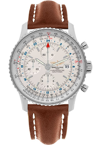 Breitling Watches - Navitimer World Stainless Steel - Leather Strap - Deployant - Style No: A2432212/G571-leather-gold-deployant