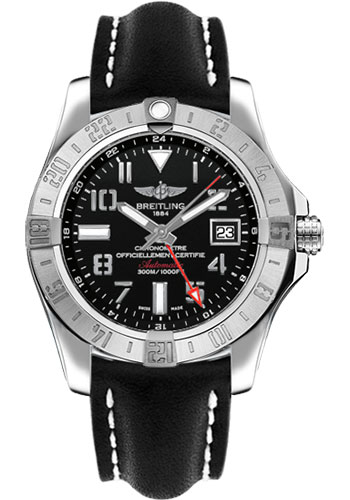 Breitling Watches - Avenger II GMT Leather Strap - Tang Buckle - Style No: A3239011/BC34-leather-black-tang