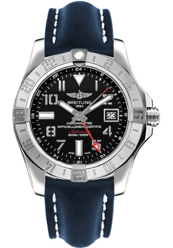 Breitling Watches - Avenger II GMT Leather Strap - Deployant Buckle - Style No: A3239011/BC34/112X/A20D.1