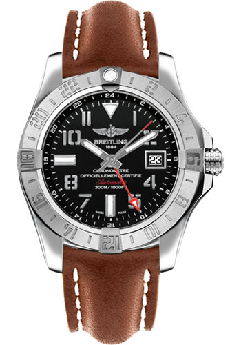 Breitling Watches - Avenger II GMT Leather Strap - Deployant Buckle - Style No: A3239011/BC34-leather-gold-deployant