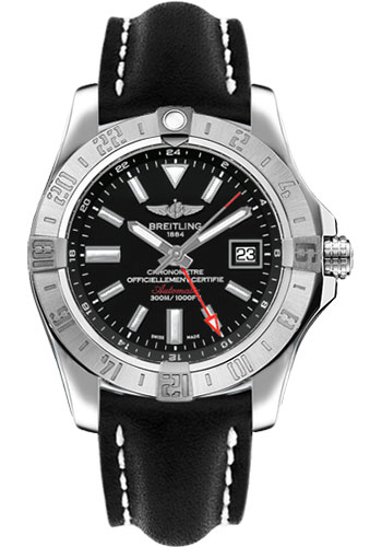 Breitling Watches - Avenger II GMT Leather Strap - Tang Buckle - Style No: A3239011/BC35-leather-black-tang