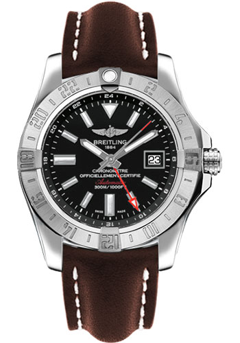 Breitling Watches - Avenger II GMT Leather Strap - Deployant Buckle - Style No: A3239011/BC35-leather-brown-deployant