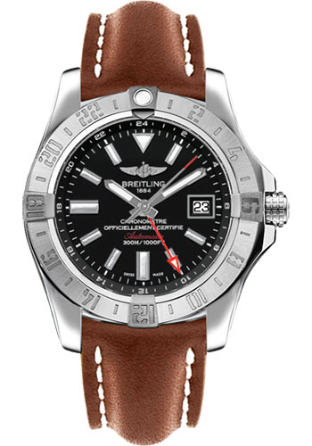 Breitling Watches - Avenger II GMT Leather Strap - Tang Buckle - Style No: A3239011/BC35-leather-gold-tang