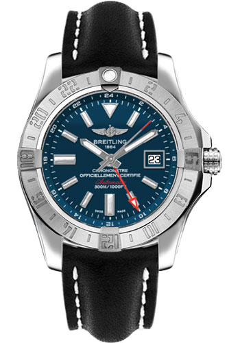 Breitling Watches - Avenger II GMT Leather Strap - Deployant Buckle - Style No: A3239011/C872-leather-black-deployant