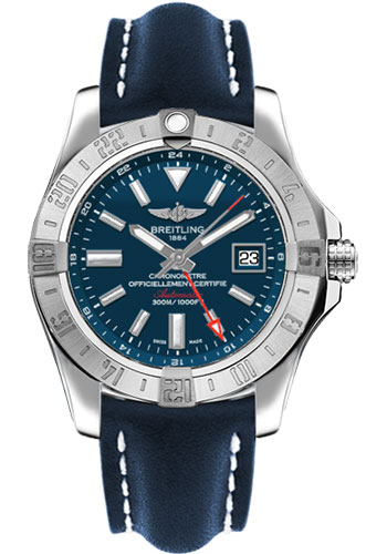 Breitling Watches - Avenger II GMT Leather Strap - Tang Buckle - Style No: A3239011/C872-leather-blue-tang