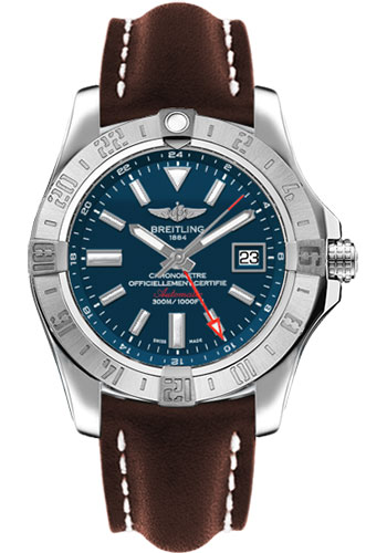 Breitling Watches - Avenger II GMT Leather Strap - Deployant Buckle - Style No: A3239011/C872-leather-brown-deployant