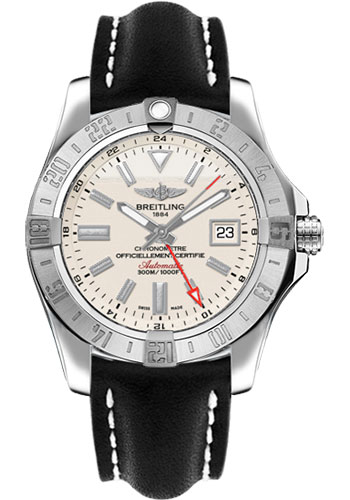Breitling Watches - Avenger II GMT Leather Strap - Tang Buckle - Style No: A3239011/G778-leather-black-tang