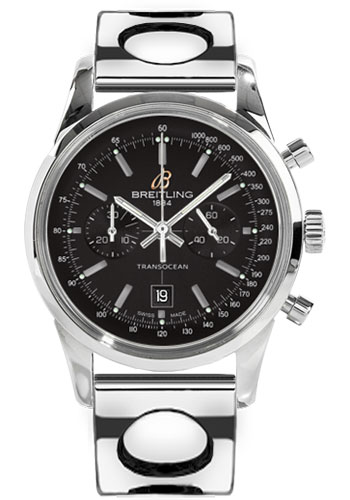 Breitling Watches - Transocean Chronograph 38 Stainless Steel - Air Racer Bracelet - Style No: A4131012/BC06-air-racer-steel
