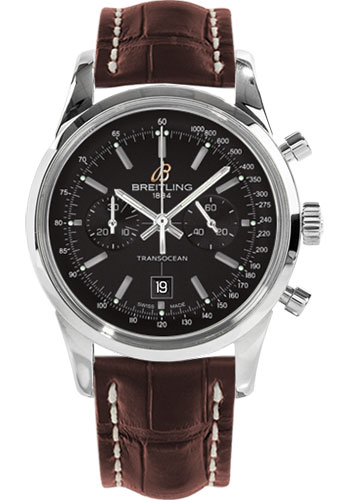 Breitling Watches - Transocean Chronograph 38 Stainless Steel - Croco Strap - Tang - Style No: A4131012/BC06-croco-brown-tang