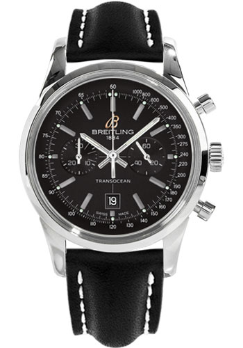 Breitling Watches - Transocean Chronograph 38 Stainless Steel - Leather Strap - Tang - Style No: A4131012/BC06-leather-black-tang