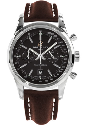 Breitling Watches - Transocean Chronograph 38 Stainless Steel - Leather Strap - Tang - Style No: A4131012/BC06-leather-brown-tang