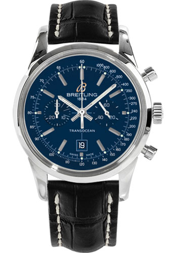 Breitling Watches - Transocean Chronograph 38 Stainless Steel - Croco Strap - Tang - Style No: A4131012/C862-croco-black-tang