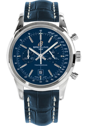 Breitling Watches - Transocean Chronograph 38 Stainless Steel - Croco Strap - Tang - Style No: A4131012/C862-croco-blue-tang