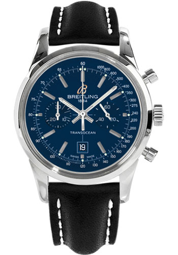 Breitling Watches - Transocean Chronograph 38 Stainless Steel - Leather Strap - Tang - Style No: A4131012/C862-leather-black-tang