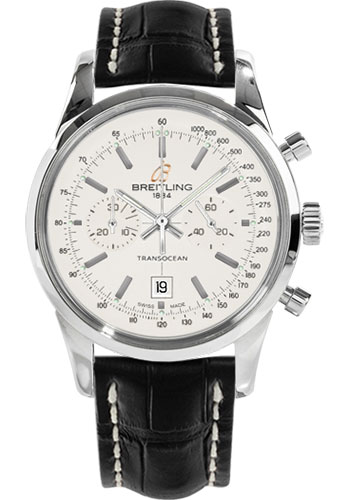 Breitling Watches - Transocean Chronograph 38 Stainless Steel - Croco Strap - Tang - Style No: A4131012/G757-croco-black-tang