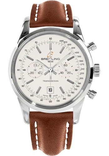 Breitling Watches - Transocean Chronograph 38 Stainless Steel - Leather Strap - Tang - Style No: A4131012/G757-leather-gold-tang