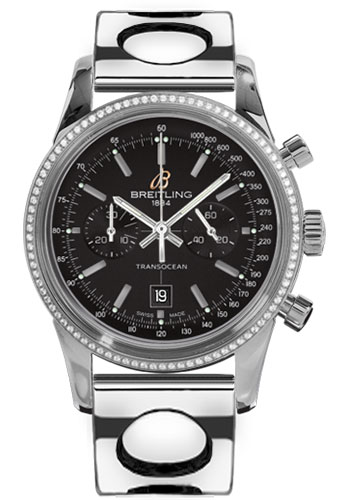 Breitling Watches - Transocean Chronograph 38 Steel - Dia Bezel - Air Racer Bracelet - Style No: A4131053/BC06-air-racer-steel