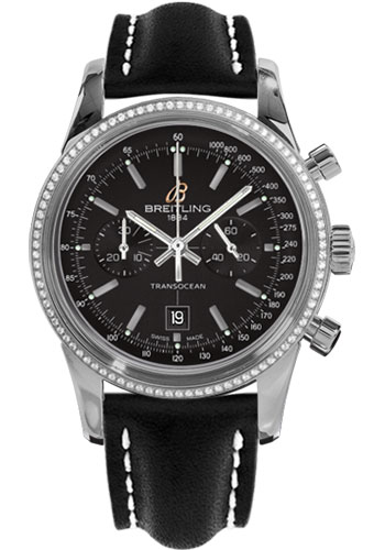 Breitling Watches - Transocean Chronograph 38 Steel - Dia Bezel - Leather Strap - Tang - Style No: A4131053/BC06-leather-black-tang