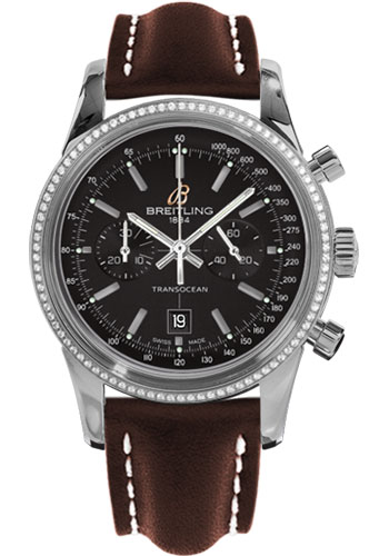 Breitling Watches - Transocean Chronograph 38 Steel - Dia Bezel - Leather Strap - Tang - Style No: A4131053/BC06-leather-brown-tang