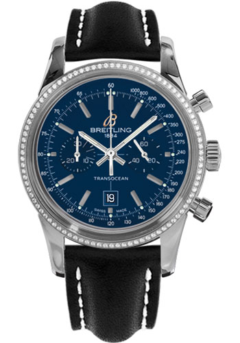 Breitling Watches - Transocean Chronograph 38 Steel - Dia Bezel - Leather Strap - Tang - Style No: A4131053/C862-leather-black-tang