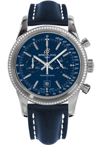 Breitling Watches - Transocean Chronograph 38 Steel - Dia Bezel - Leather Strap - Tang - Style No: A4131053/C862-leather-blue-tang