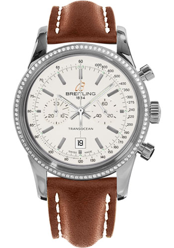 Breitling Watches - Transocean Chronograph 38 Steel - Dia Bezel - Leather Strap - Tang - Style No: A4131053/G757-leather-gold-tang
