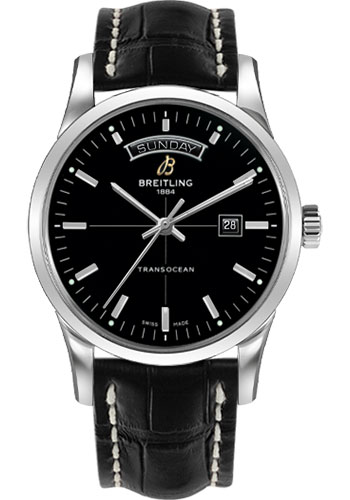 Breitling Watches - Transocean Day and Date Stainless Steel on Croco Deployant - Style No: A4531012/BB69-croco-black-deployant