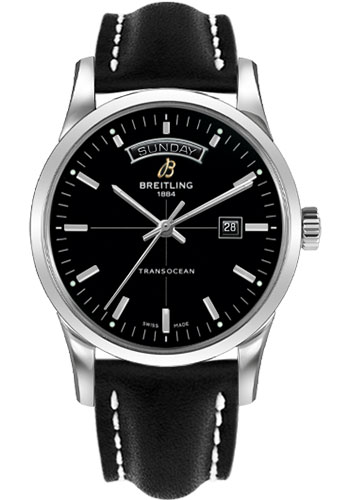 Breitling Watches - Transocean Day and Date Stainless Steel on Leather Deployant - Style No: A4531012/BB69-leather-black-deployant