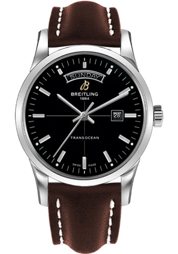 Breitling Watches - Transocean Day and Date Stainless Steel on Leather Deployant - Style No: A4531012/BB69-leather-brown-deployant