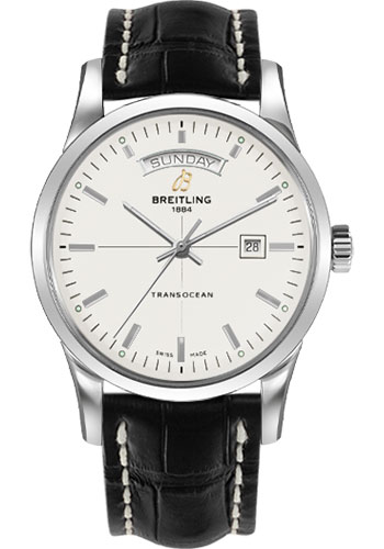 Breitling Watches - Transocean Day and Date Stainless Steel on Croco Deployant - Style No: A4531012/G751-croco-black-deployant