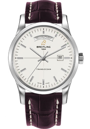 Breitling Watches - Transocean Day and Date Stainless Steel on Croco Deployant - Style No: A4531012/G751-croco-burgundy-deployant