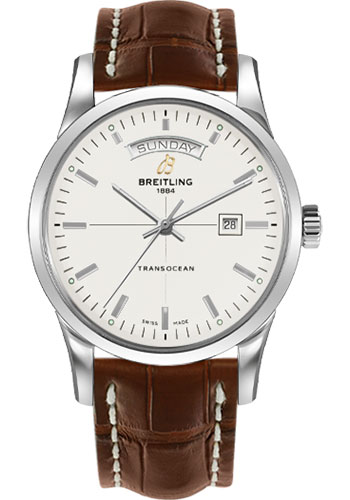 Breitling Watches - Transocean Day and Date Stainless Steel on Croco - Style No: A4531012/G751-croco-gold-tang