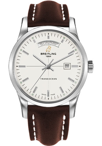 Breitling Watches - Transocean Day and Date Stainless Steel on Leather - Style No: A4531012/G751-leather-brown-tang