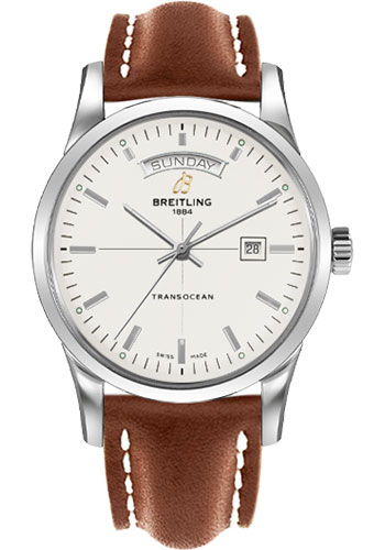Breitling Watches - Transocean Day and Date Stainless Steel - Leather Strap - Deployant - Style No: A4531012/G751/434X/A20D.1