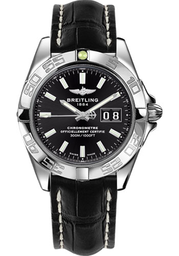 Breitling Watches - Galactic 41 Stainless Steel - Croco Strap - Tang - Style No: A49350L2/BE58-croco-black-tang