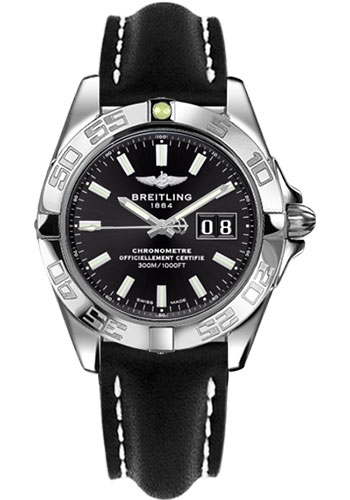Breitling Watches - Galactic 41 Stainless Steel - Leather Strap - Tang - Style No: A49350L2/BE58-leather-black-tang