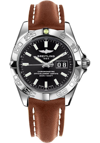 Breitling Watches - Galactic 41 Stainless Steel - Leather Strap - Tang - Style No: A49350L2/BE58-leather-gold-tang