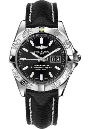 Breitling Watches - Galactic 41 Stainless Steel - Sahara Strap - Tang - Style No: A49350L2/BE58-sahara-black-tang