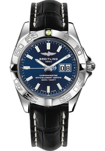 Breitling Watches - Galactic 41 Stainless Steel - Croco Strap - Tang - Style No: A49350L2/C929-croco-black-tang