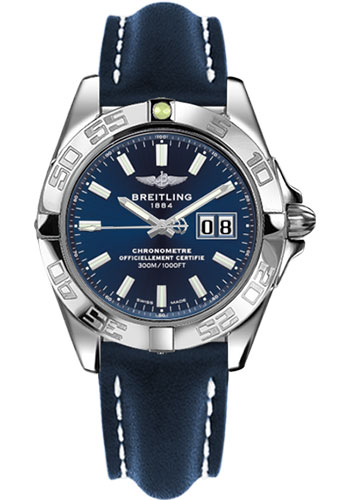 Breitling Watches - Galactic 41 Stainless Steel - Leather Strap - Tang - Style No: A49350L2/C929-leather-blue-tang