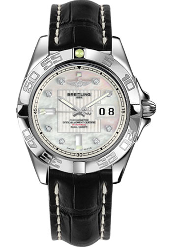 Breitling Watches - Galactic 41 Stainless Steel - Croco Strap - Tang - Style No: A49350L2/A702-croco-black-tang