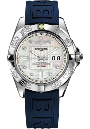 Breitling Watches - Galactic 41 Stainless Steel - Diver Pro III Strap - Deployant - Style No: A49350L2/A702-diver-pro-iii-blue-deployant