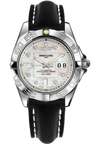 Breitling Watches - Galactic 41 Stainless Steel - Leather Strap - Tang - Style No: A49350L2/A702-leather-black-tang