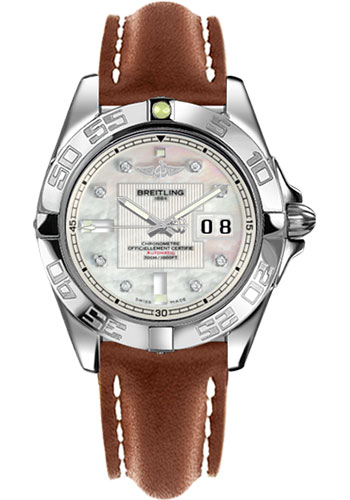 Breitling Watches - Galactic 41 Stainless Steel - Leather Strap - Tang - Style No: A49350L2/A702-leather-gold-tang